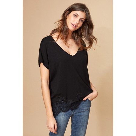 Lauren Vidal Opal Lace Hem EasyFit Top - Black
