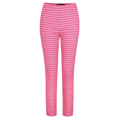 Robell Trousers Rose 09 Geo Diamond Print Trouser - Pink