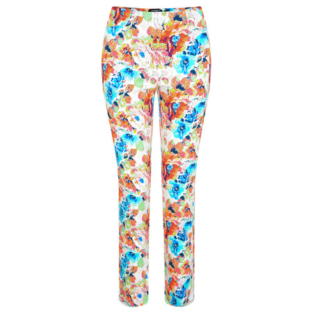 Robell Trousers Rose 09 Floral Slim Fit Trouser - Orange