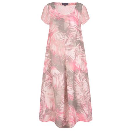 Sahara Palm Print Linen Pleat Dress - Brown