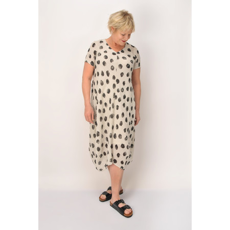 Sahara Spot Print Linen Bubble Dress - Beige