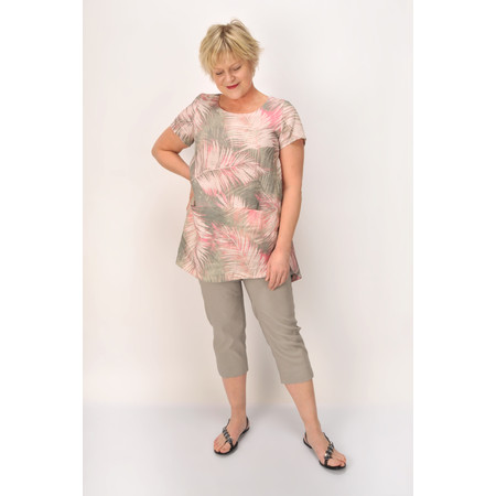 Sahara Palm Print Linen Pocket Tunic - Brown