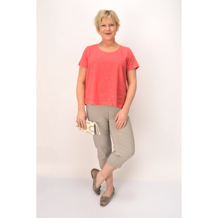 Sahara Textured Linen Seam Detail Top - Pink