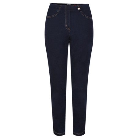 Robell Bella  Navy Contrast Stitch Slim Fit Full Length Jean - Blue