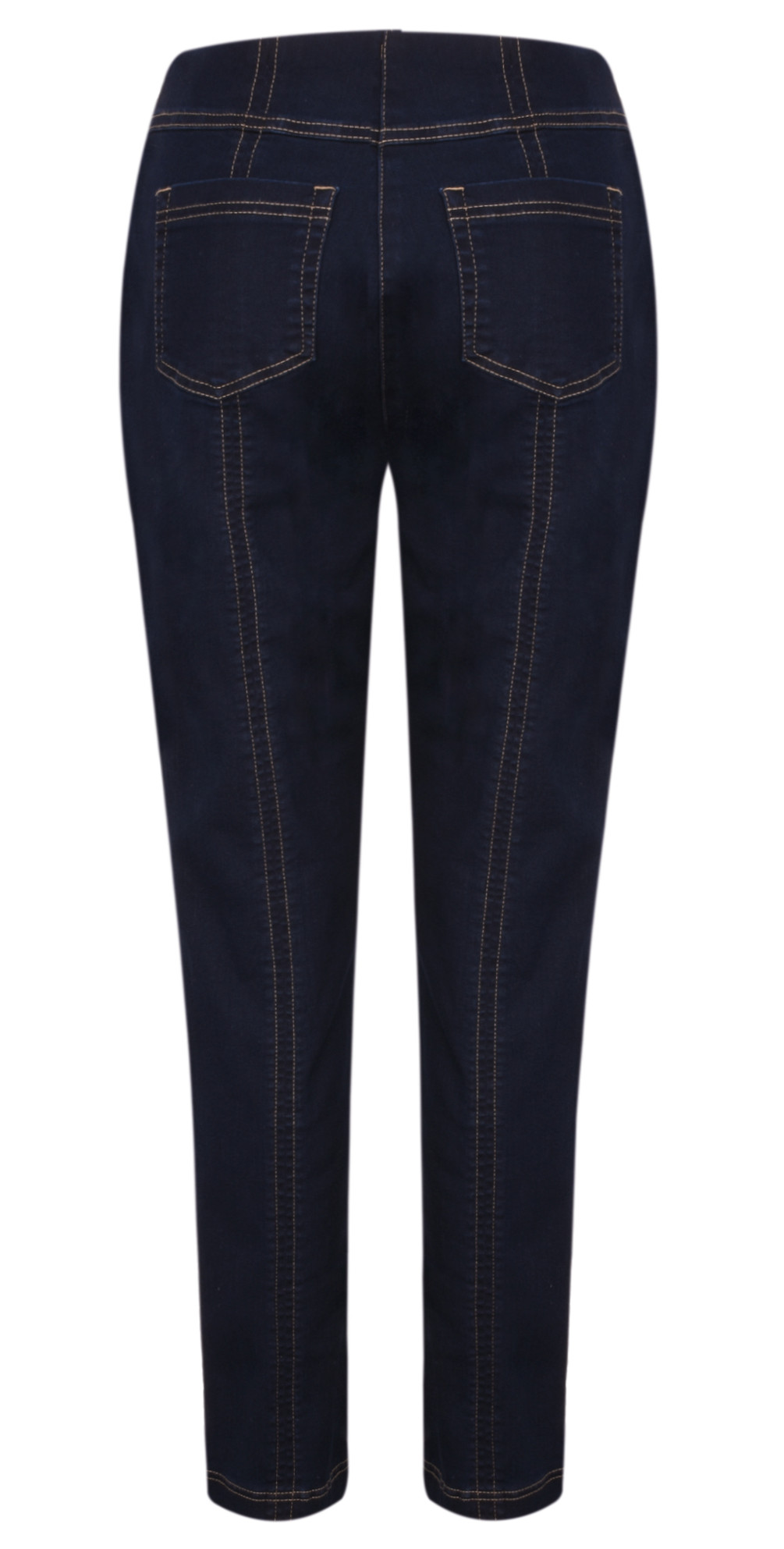 Bella  Navy Contrast Stitch Slim Fit Full Length Jean main image