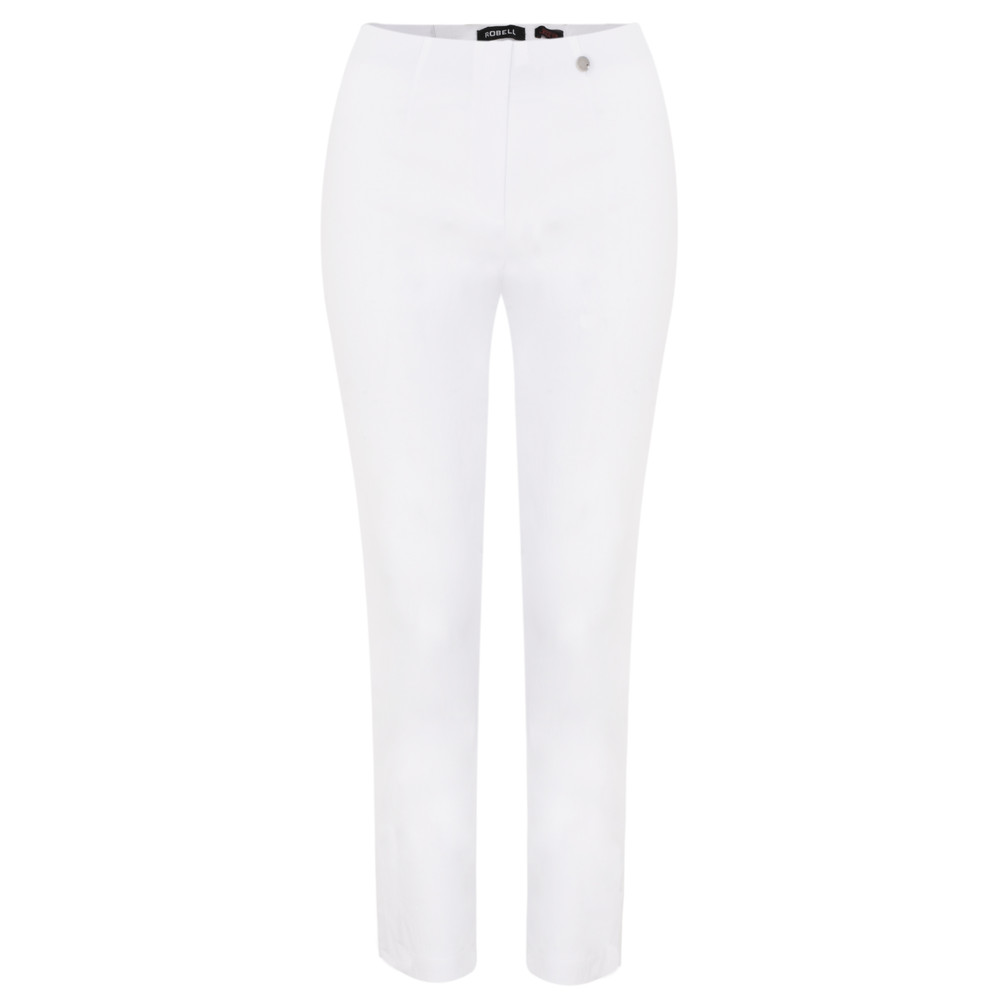 Robell Lena White Ankle Detail Cropped Trouser White