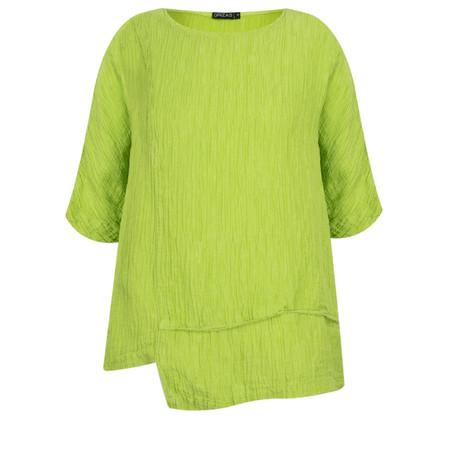 Grizas Jolanta Solid Crinkle Linen Top - Green