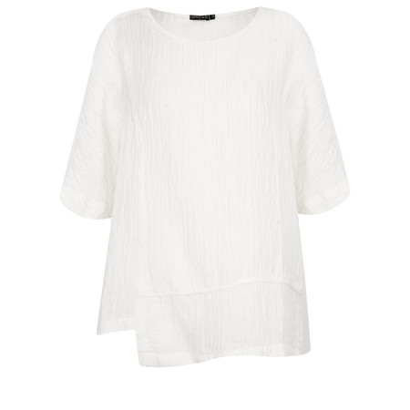 Grizas Jolanta Solid Crinkle Linen Top - White