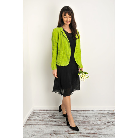 Grizas Goda Solid Crinkle Linen Jacket - Green