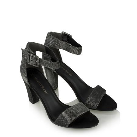 Marco Tozzi Textile Ankle Strap Shoe - Grey
