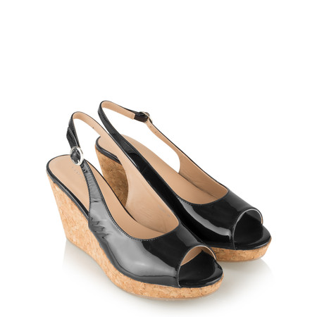 Vanilla Moon Shoes Marie Patent Wedge Sandal - Black