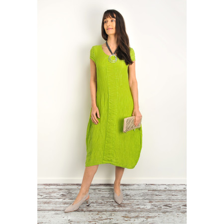 Grizas Victoria Crushed Silk Linen Mix Dress - Green