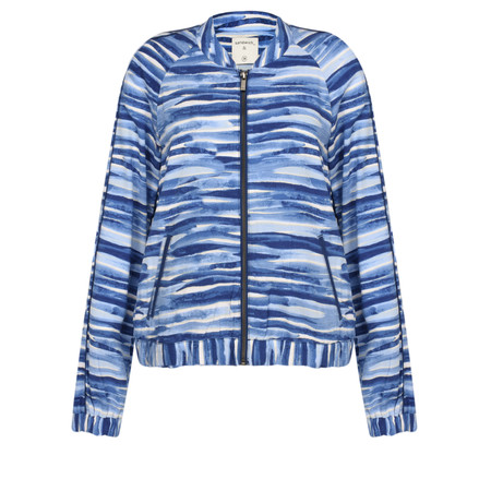 Sandwich Clothing Ocean Wave Printed Bomber Jacket - Blue