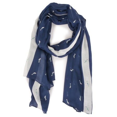 Sandwich Clothing Jumping Fish Print Woven Scarf - Blue