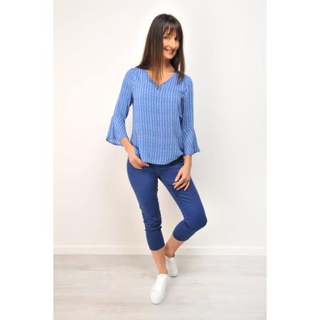 Sandwich Clothing Geometric Dot Print Blouse - Blue