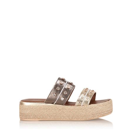INUOVO Nisa Platform Yute Sandal - Gold