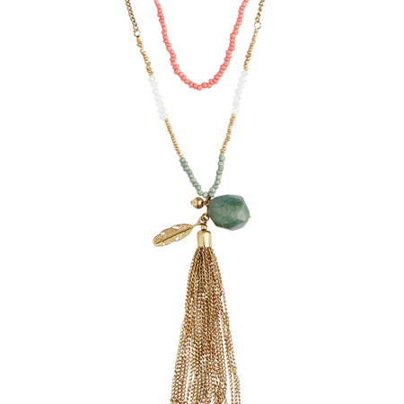 Sandwich Clothing Multi chain tassel Necklace - Pink