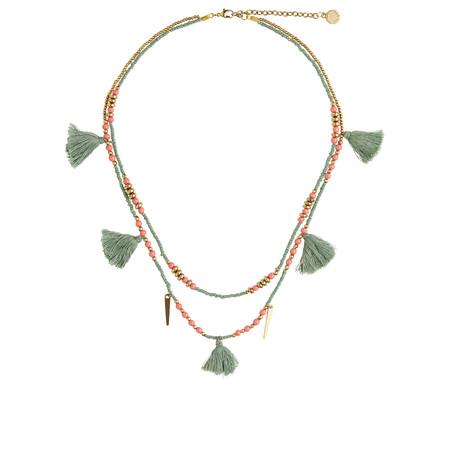 Sandwich Clothing Short beaded tassel Necklace - Green