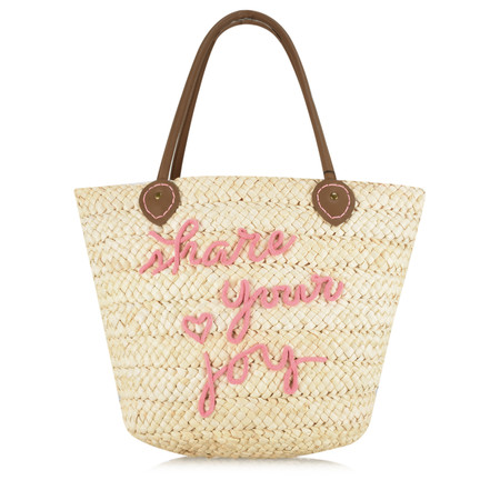 Sandwich Clothing Share Your Joy Straw Handbag - Beige