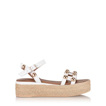 INUOVO Ada Platform Yute Sandal - White