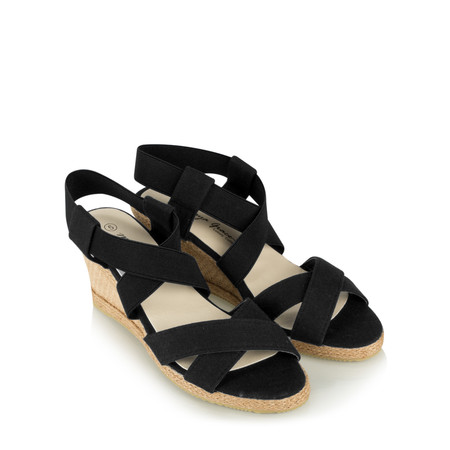 Livshu Ginny Wedge Espadrille Sandal - Black