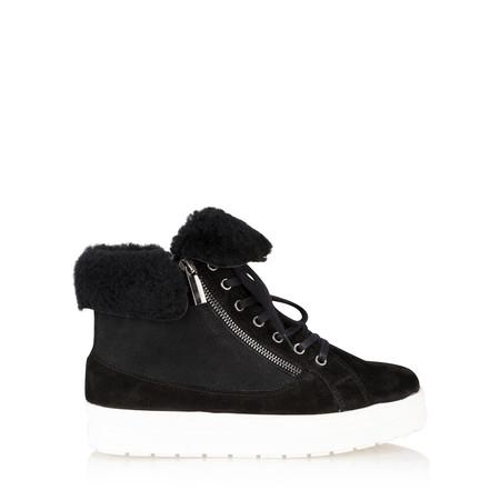 Caprice Footwear Mara Fur Trim Hi Top Trainer Shoe - Black