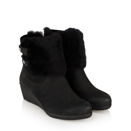 Caprice Footwear Leah Fur Lined Wedge Ankle Boot - Black