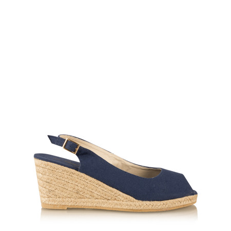 Livshu Allie PeepToe Wedge Espadrille - Blue