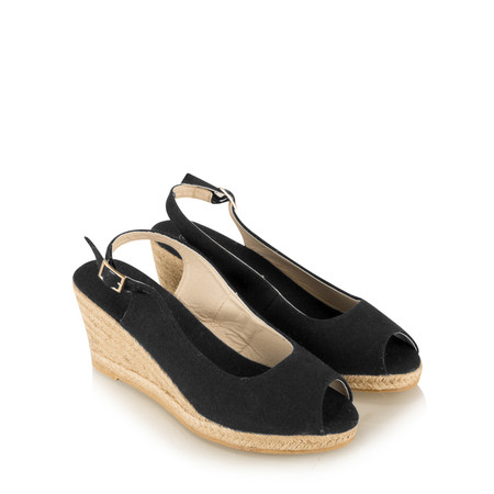 Livshu Allie PeepToe Wedge Espadrille - Black