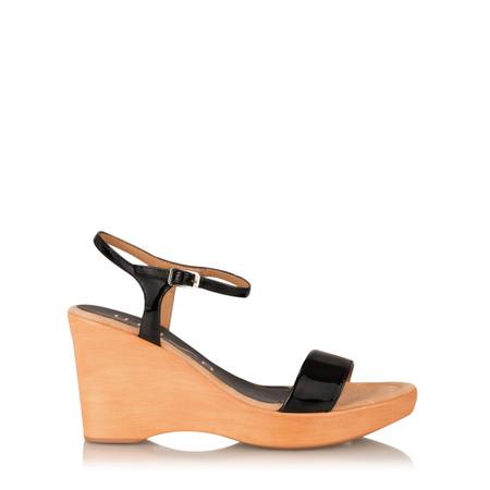 Unisa Shoes Rita Patent Wedge Sandal - Black