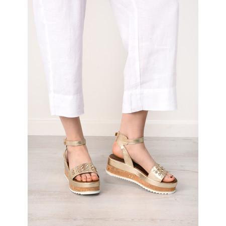 INUOVO Asya Cork Platform Sandal - Metallic