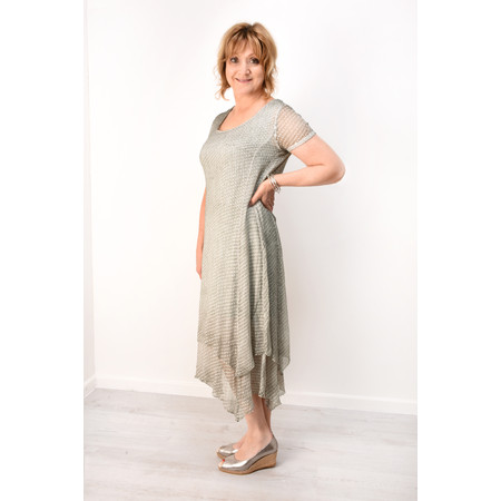 Grizas Odeta Devore Spot Dress - Beige