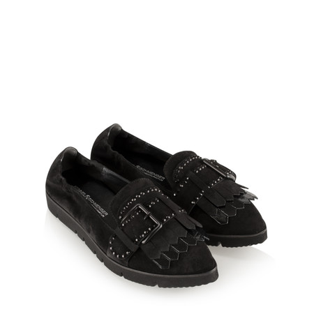 Kennel Und Schmenger Pia X Buckle Fringe Shoe - Black