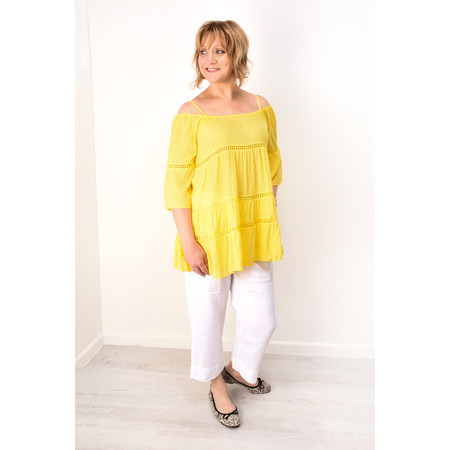 Lara Ethnics Florida Off-The-Shoulder Top - Yellow
