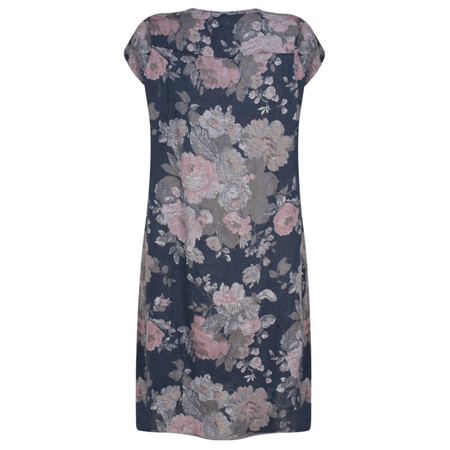 TOC  Rose Vintage Printed Linen Dress - Blue