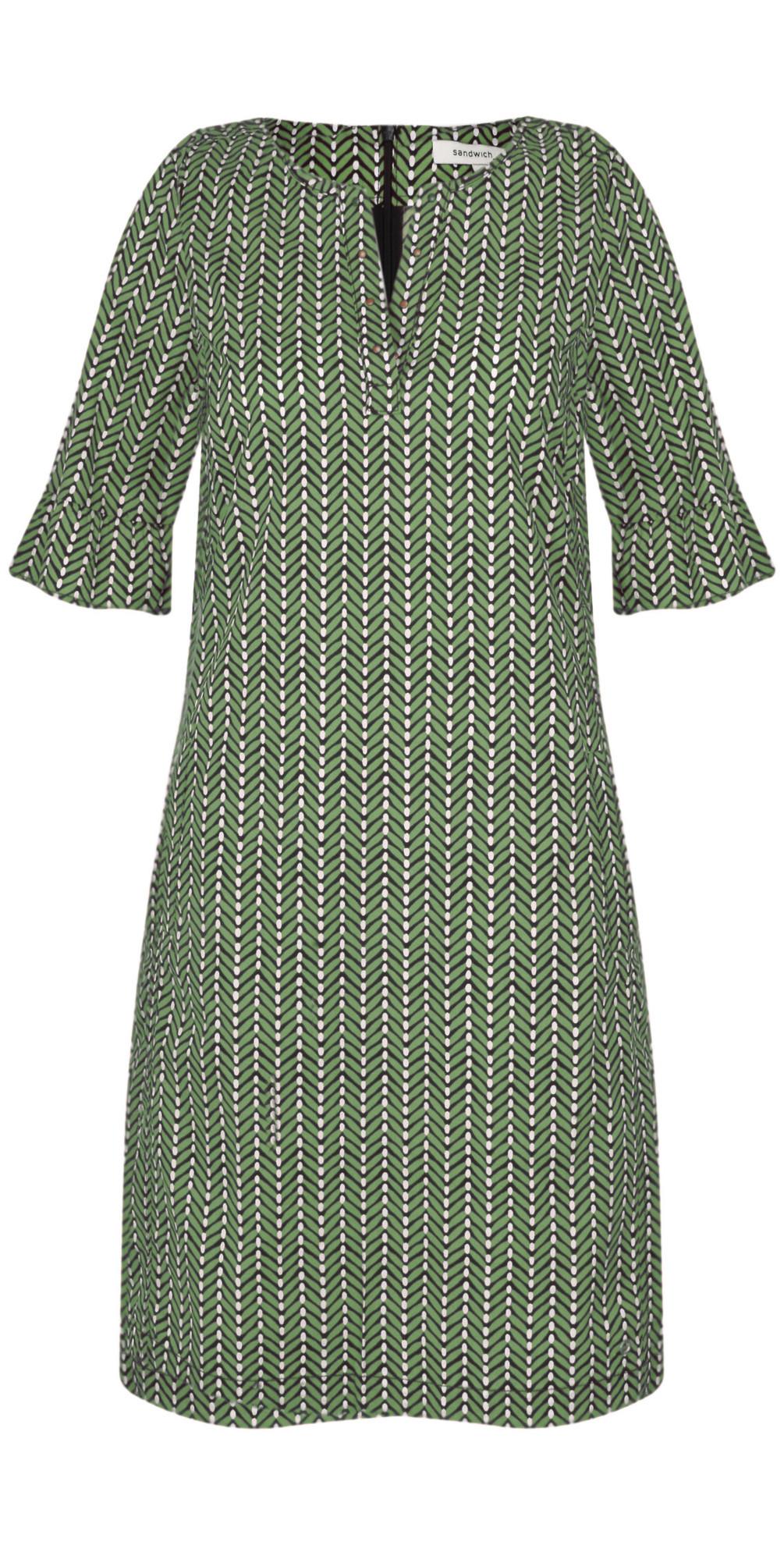074090ae846a Sandwich Clothing Herringbone Woven Dress in Hedge Green