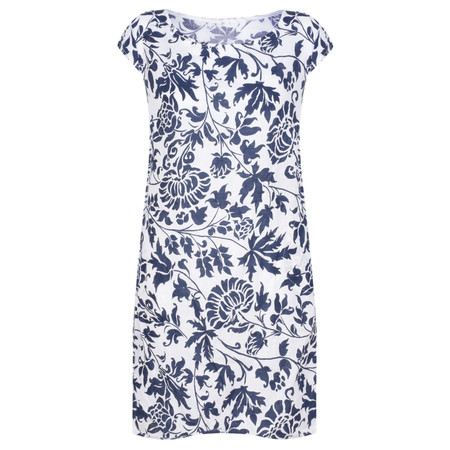 TOC  Dahlia Printed Linen Dress - Blue