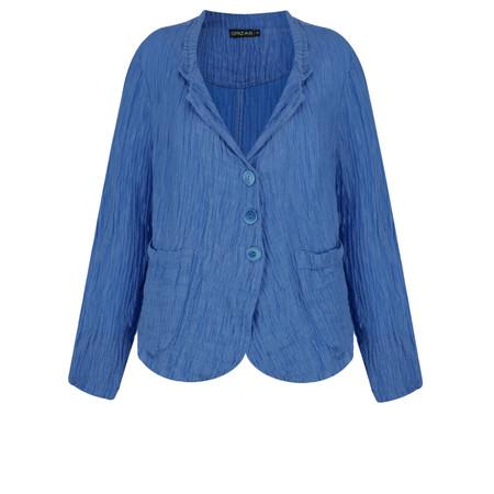 Grizas Goda Solid Crinkle Linen Jacket - Blue