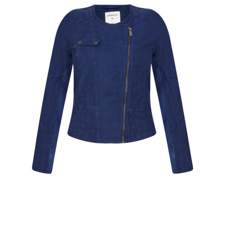 Sandwich Clothing Linen Biker Jacket - Blue