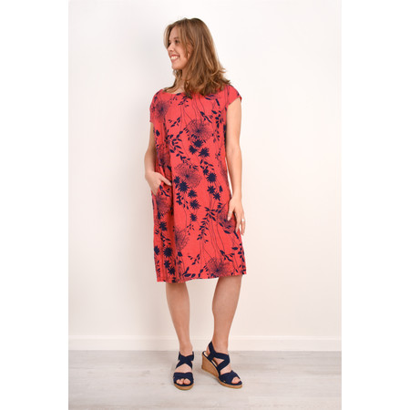TOC  Daisy Printed Linen Dress  - Red