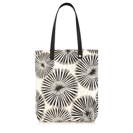 Sandwich Clothing Contrast Stripe and Floral Shopper Handbag - Black