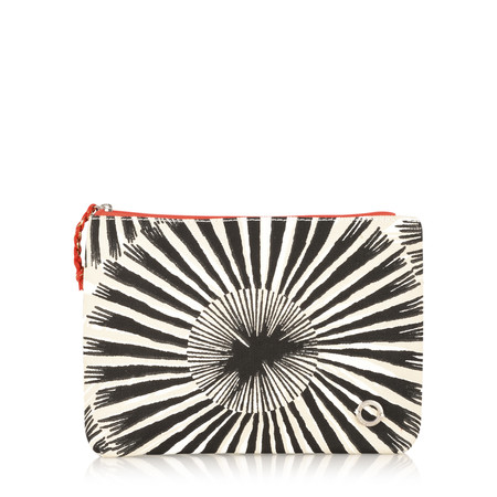 Sandwich Clothing Contrast Stripe and Floral Purse - Black