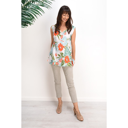 Masai Clothing Ea Tropical Floral Top - Orange