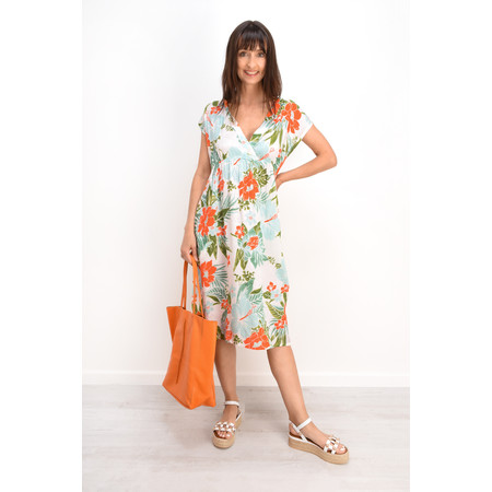 Masai Clothing Onata Tropical Floral Dress - Orange