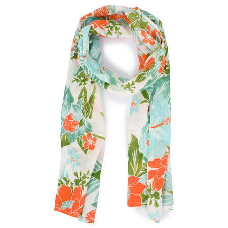 Masai Clothing Along Tropical Floral Scarf - Orange