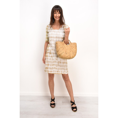 Sandwich Clothing Tie-dye Linen Woven Dress - Beige