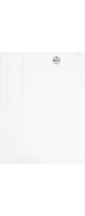 Robell Bella 05 White Power Denim Shorts White