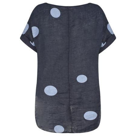 Arka Dot Linen Top - Blue