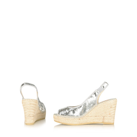 Vidorreta Salon Ribete Wedge Espadrille - Metallic