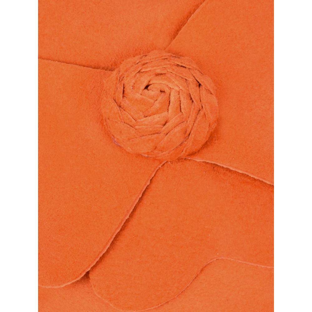Gemini Label Shoes Closed Suede Flower Pump Valencia Orange